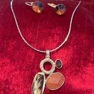 Brown, Gold multi-color circle necklace & earrings